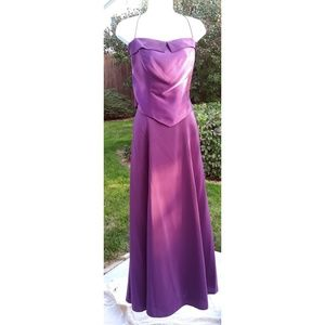 Plum two-piece prom homecoming bridesmaid gown